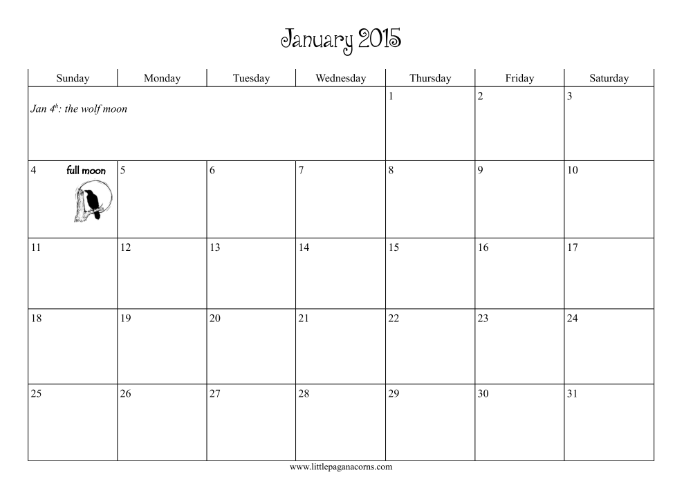 Calendar Pages For 2015