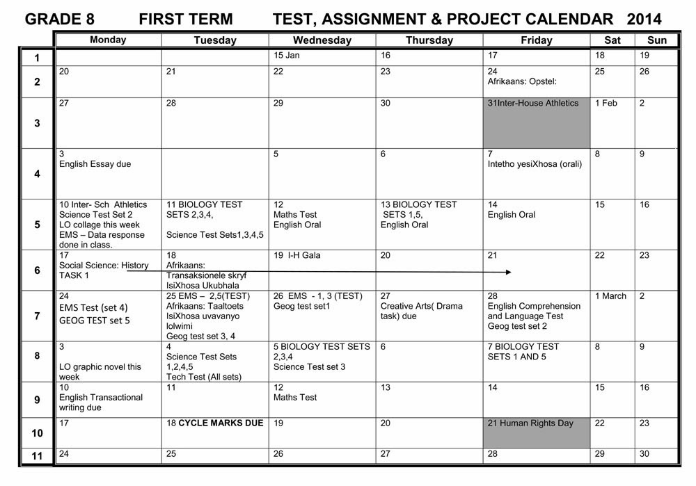 Camps Bay High School  Cbhs Tests, Projects & Assignments