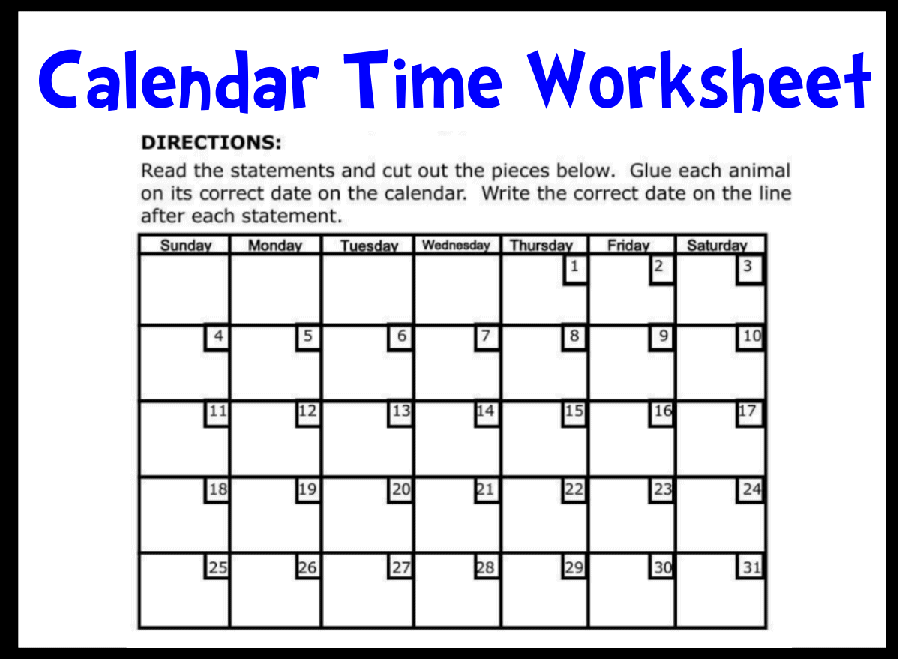 Collection Calendar Worksheets For Grade 1 Pictures