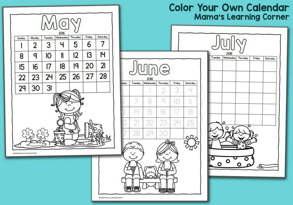 Color Fun! Printable Calendar For Kids 2016
