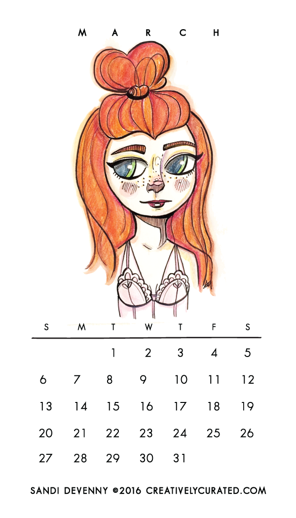 Creatively Curated  Free Download    March Pocket Calendar + Desktop