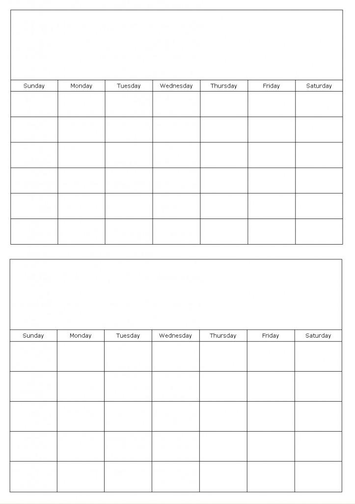 Monthly Calendar Template Printable Calendar Template 2018