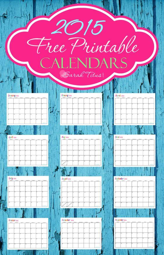 Custom Editable Free Printable 2015 Calendars