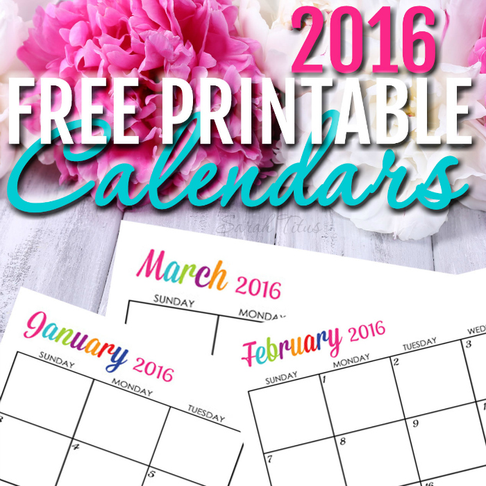 Custom Editable Free Printable 2016 Calendars