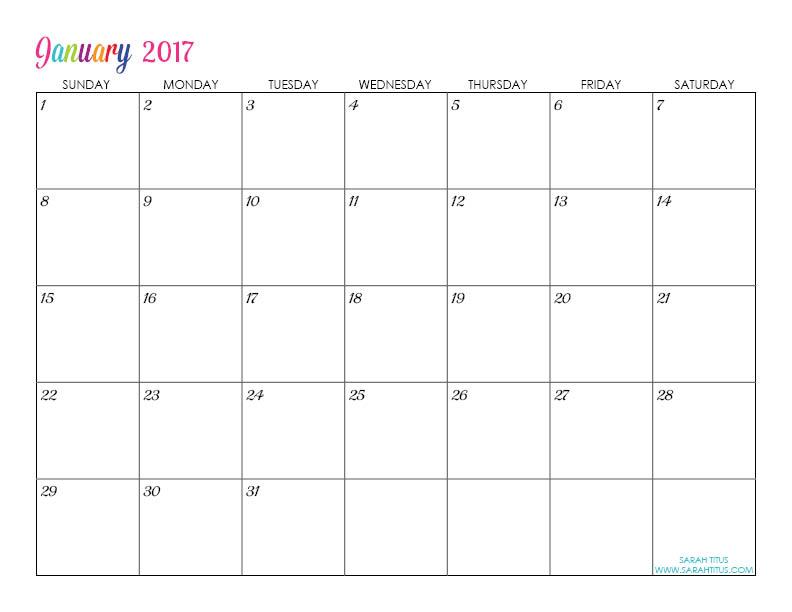 Custom Editable Free Printable 2017 Calendars