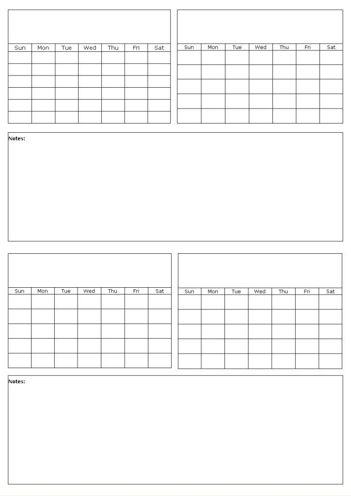 Custom Printable Calendar Template