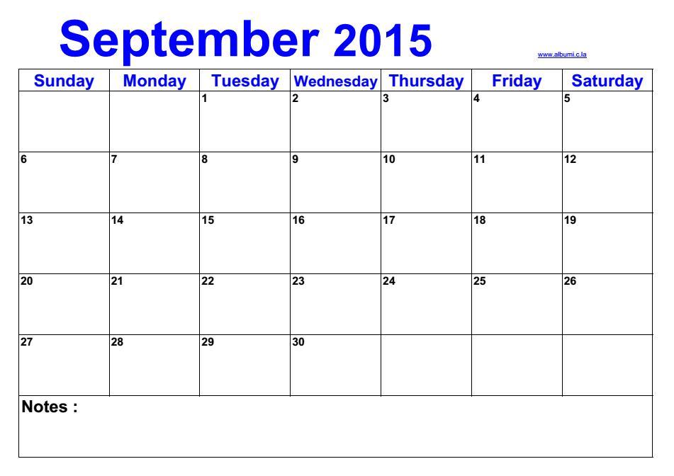 Customizable Calendar  Blank Calendar September 2015  Event