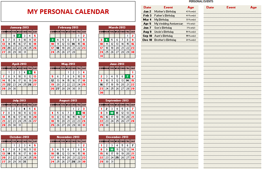 Customizable Excel Calendar Template