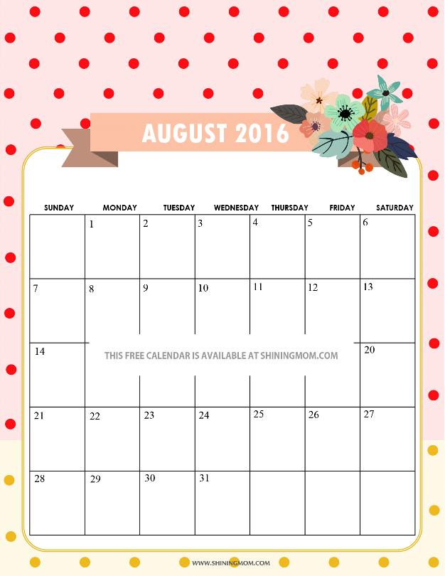 Cute August 2016 Calendar
