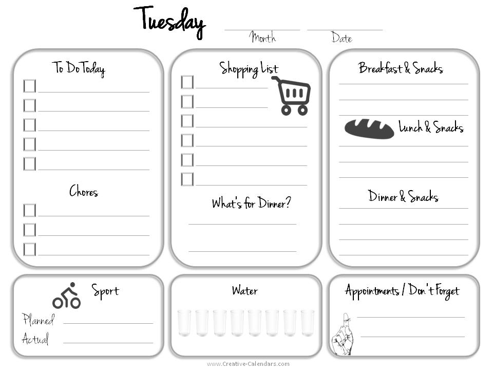 Printable Daily Planner Calendar » Calendar Template 2018