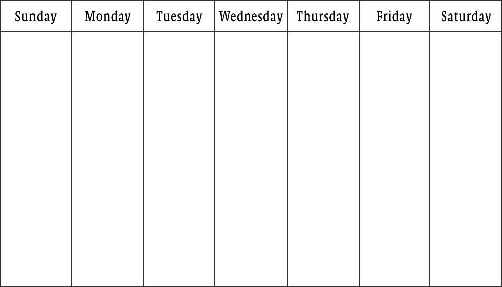 Days Of The Week Calendar Template   Free Printable Blank