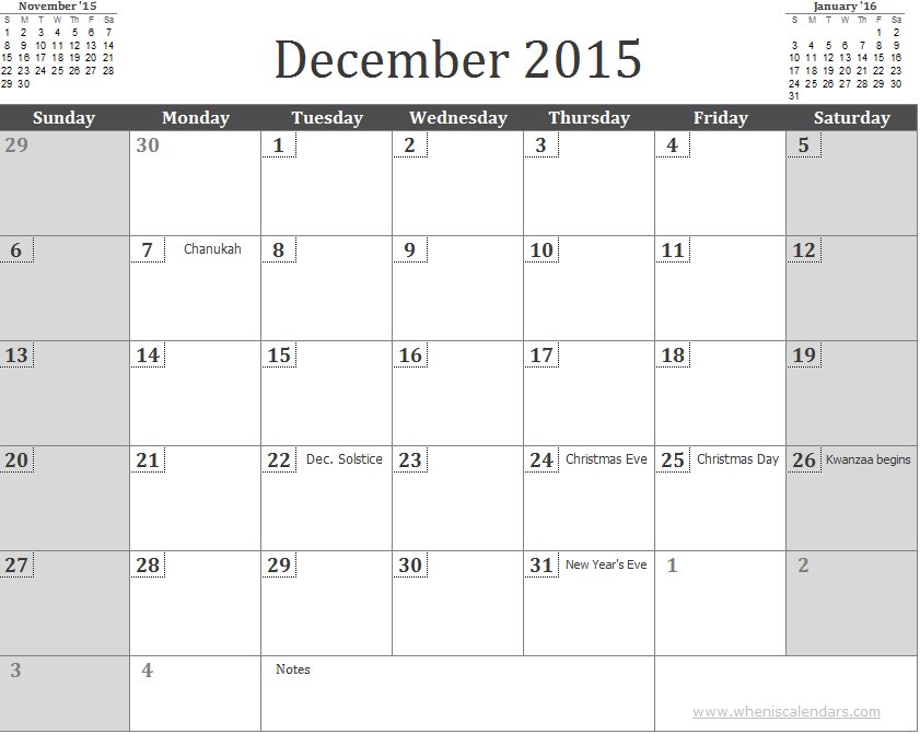 December 2015 Calendar 3 Month