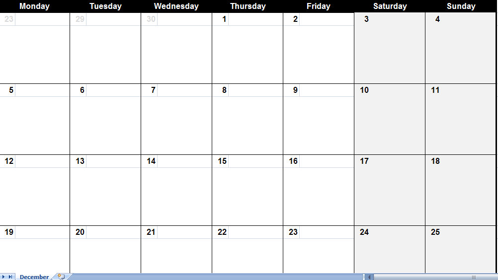 December Calendar Template Images