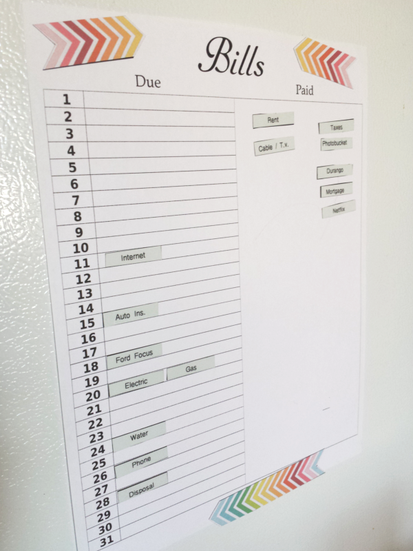 Diy Home Sweet Home  Bill Tracker {free Printable}