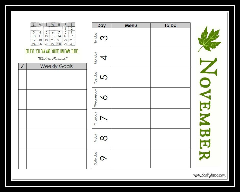 Dizee's Food Tracking & Calendar Printable