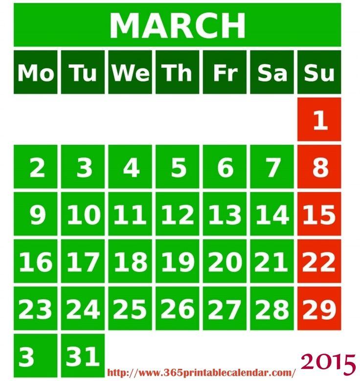 Download March 2015 Calendar To Print  Cute March 2015 Calendar