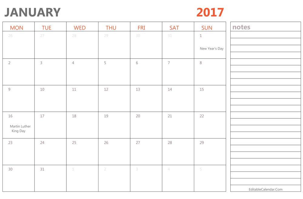 Editable January 2017 Calendar Template Ms Word