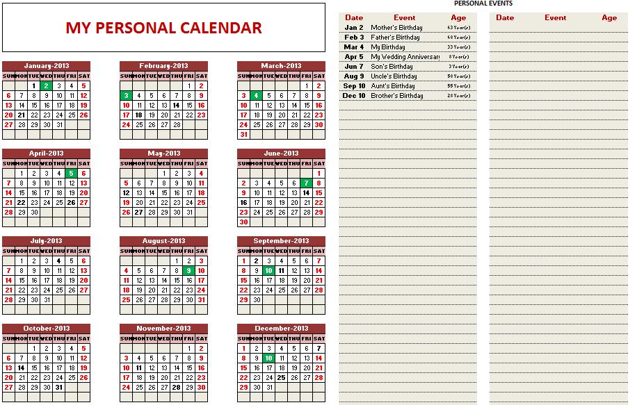Employee Vacation Planner Free Excel Template Indzara  2016 Excel
