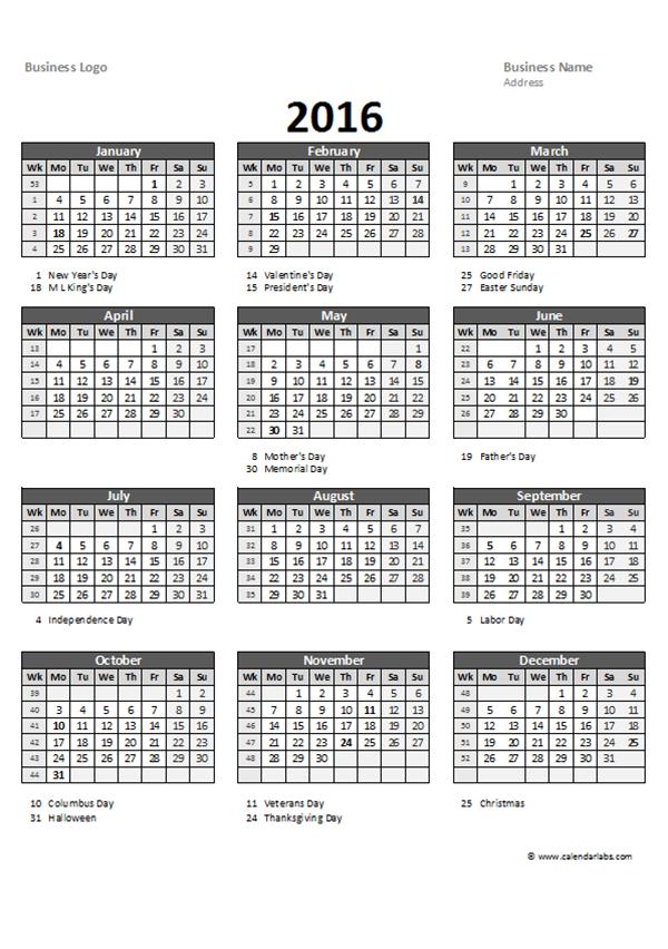 quarterly calendar template excel