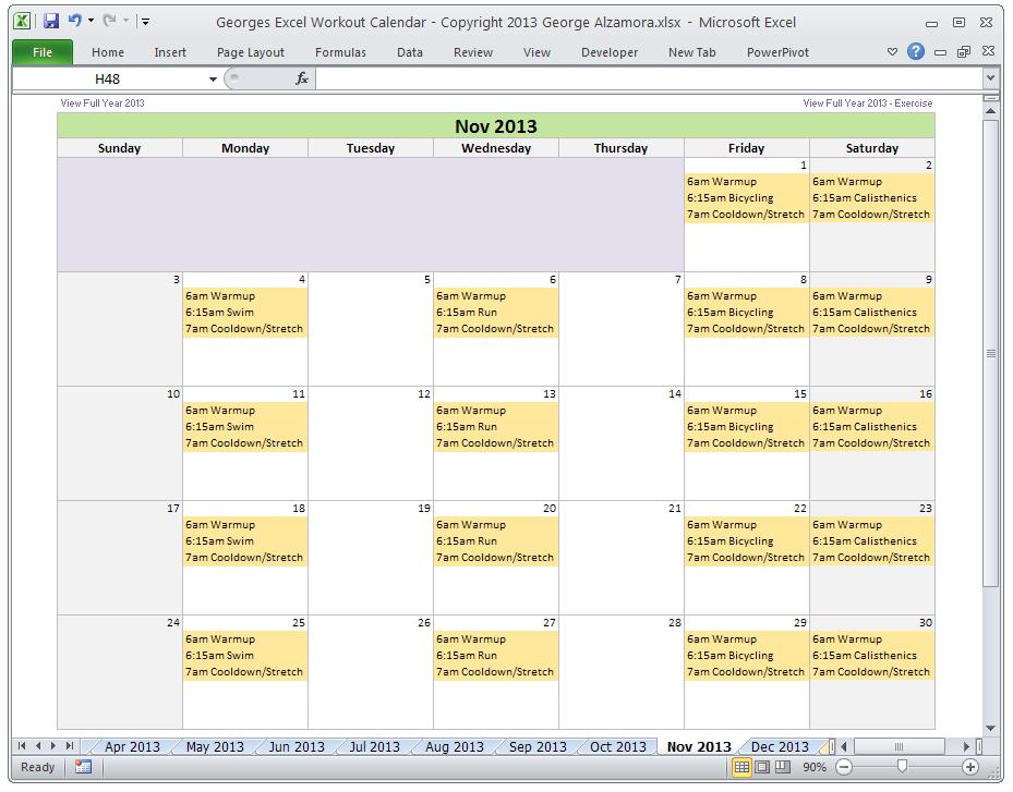 Excel Fitness Workout Calendar Template