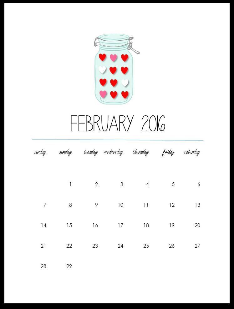 February 2016 Calendar Page