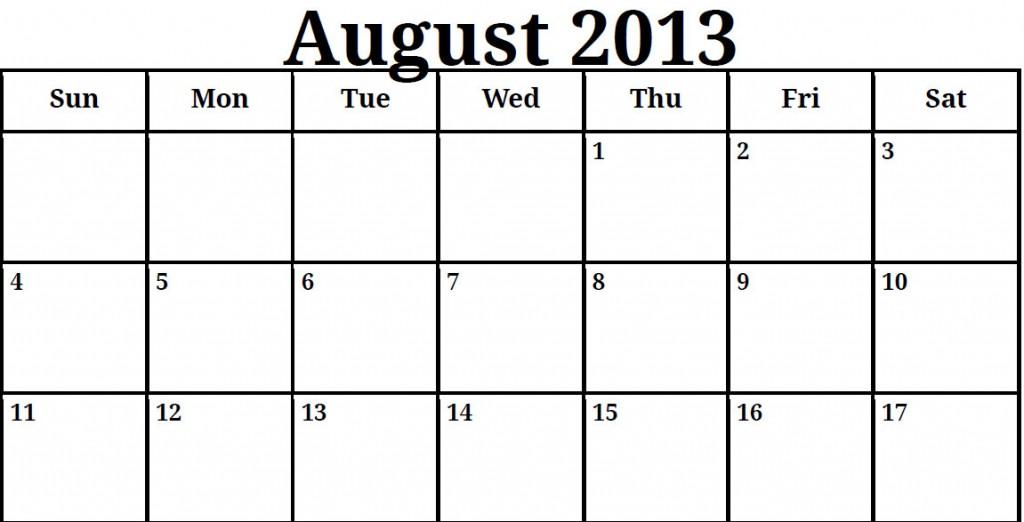 Fill In August Calendar
