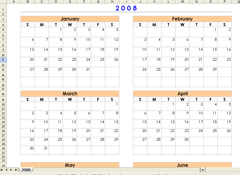 Four Month Calendars Per Page