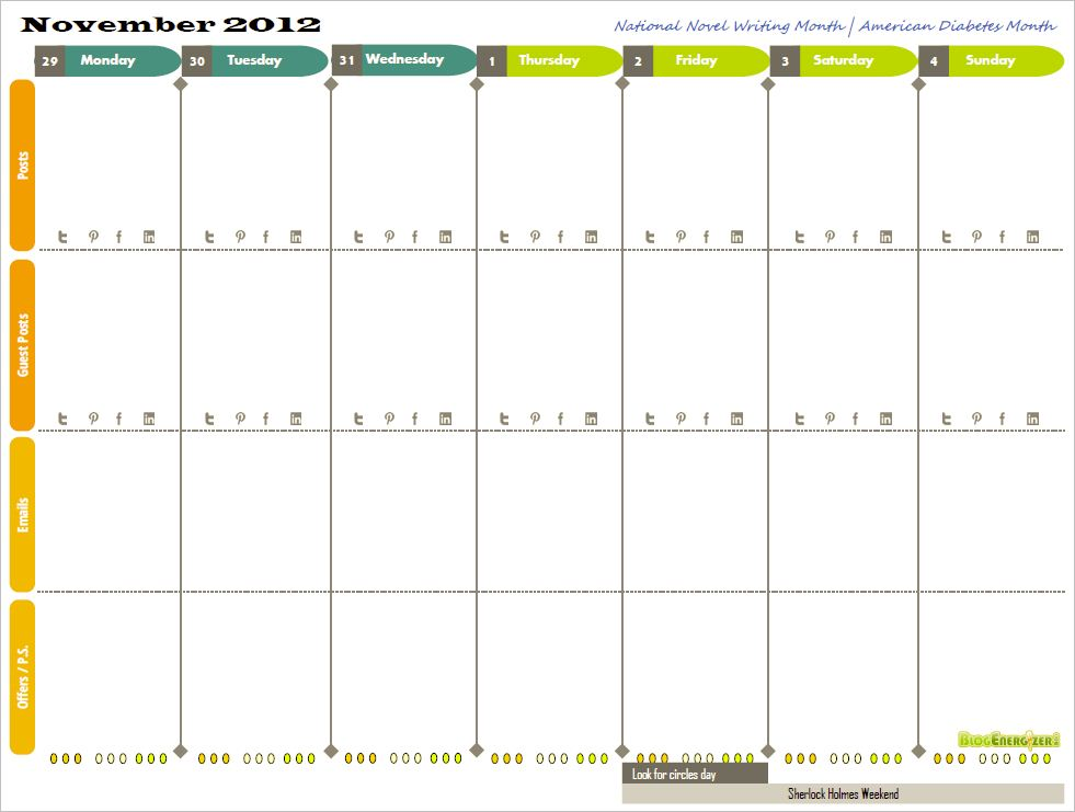 Free 2013 Printable Weekly Calendar For Bloggers