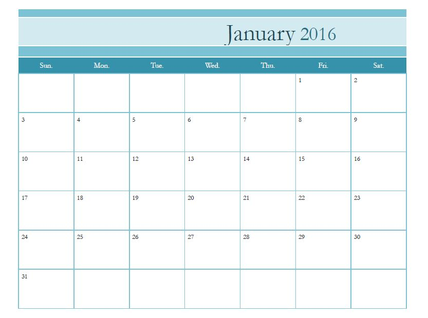 Free Printable Monthly Calendar Template  Calendar Template