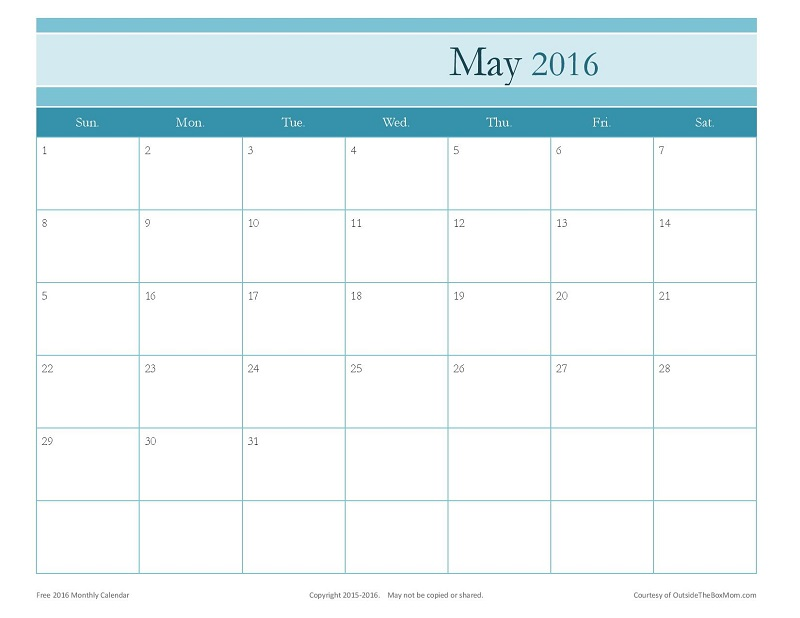 Free 2016 Printable Calendar For Moms