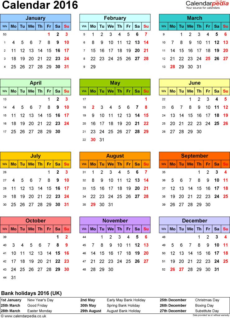 Free 2016 Printable Calendar With Holidays
