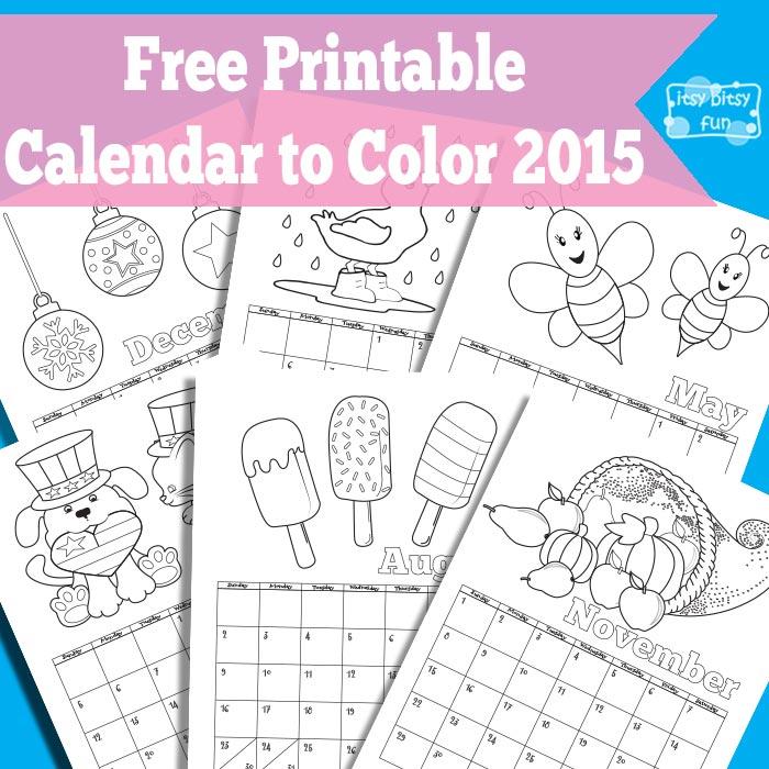 Free  Printable Coloring Page 2015 Calendar