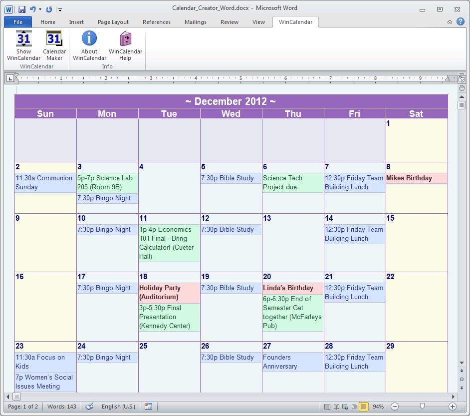 Free Calendar Template Maker