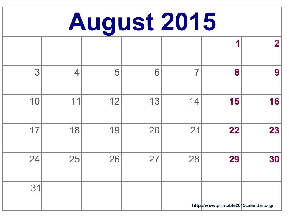 Free Download August 2015 Blank Calendar Template Pdf Excel Word