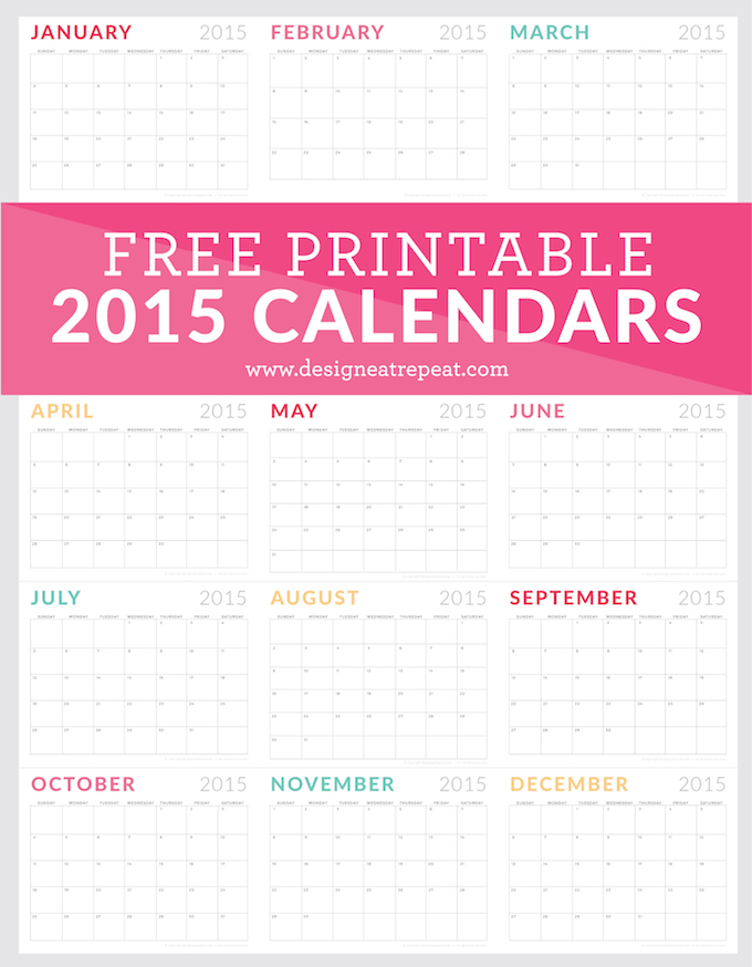Free Printable 2015 Monthly Calendar