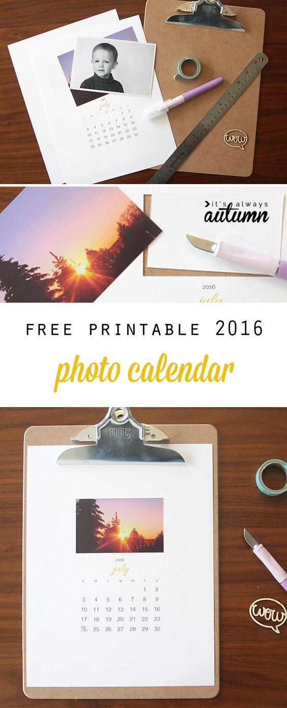 Free Printable 2016 Photo Calendar {great Diy Gift Idea