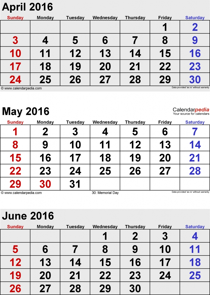 Free Printable 4 Month Calendar June 2016