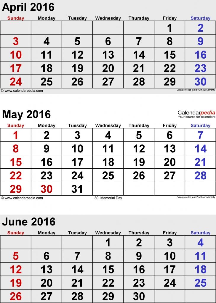 Free Printable 4 Month Calendar June 2016