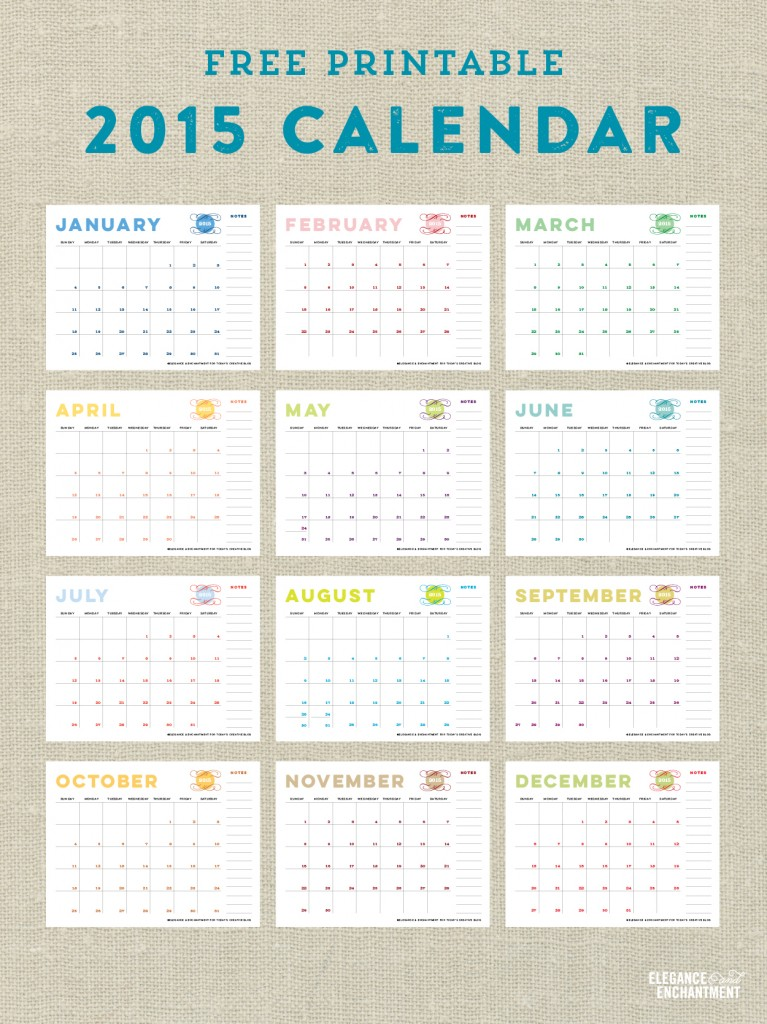 Free Printable Calendars For 2015