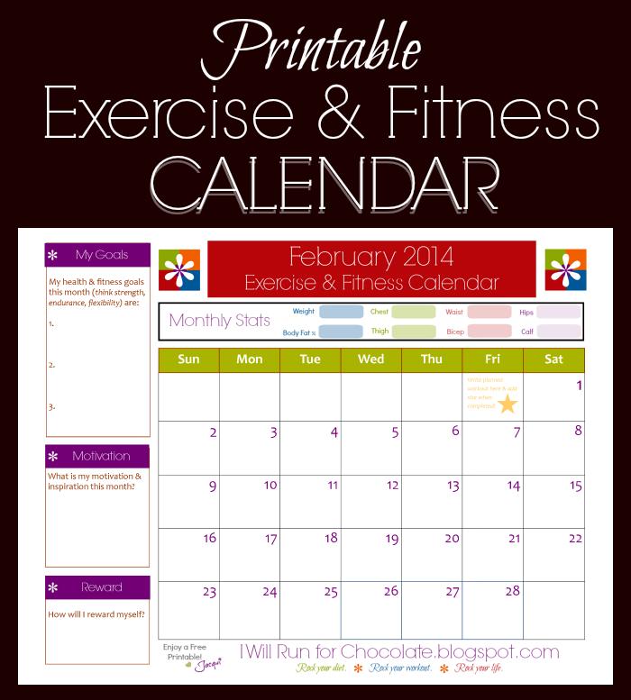 Free Printable Exercise & Fitness Calendar For February!