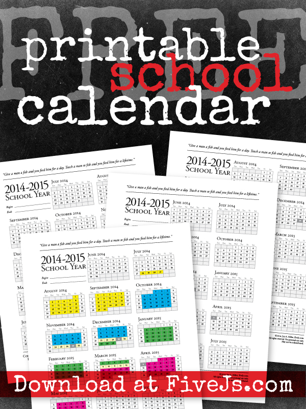 Free Printable Homeschool Calendar For 2014