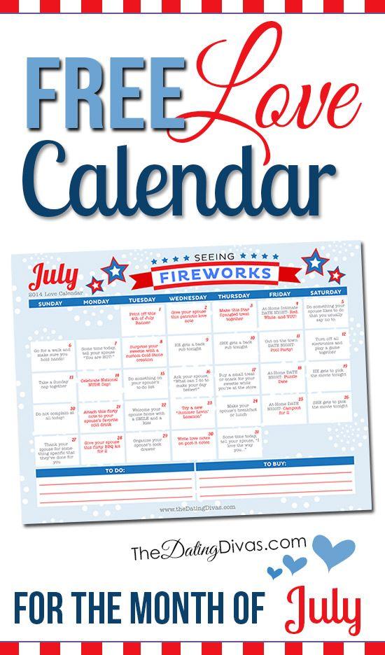 Free Printable July Love Calendar