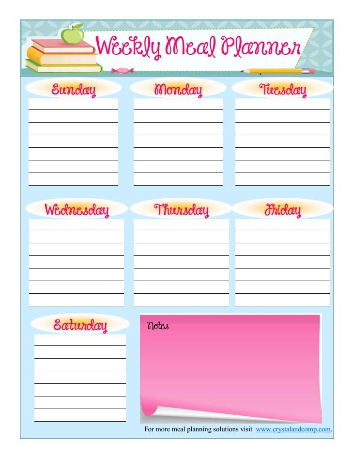 Free Printable Meal Planner (august)