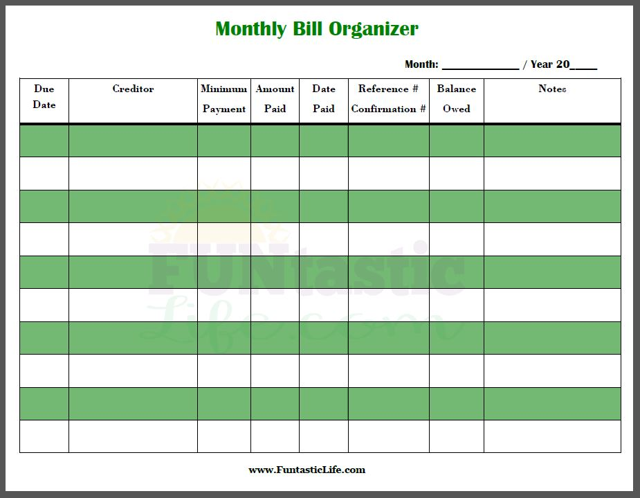 Free Printable Bill Calendar  Calendar Template