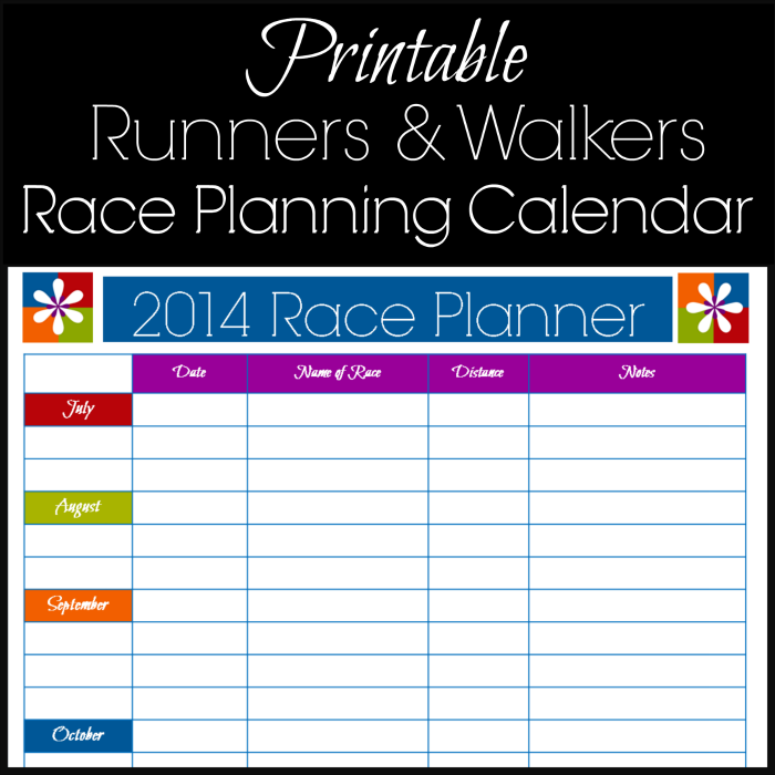 Free Printable Race Planning Calendar For Runners 5k To Marathon!