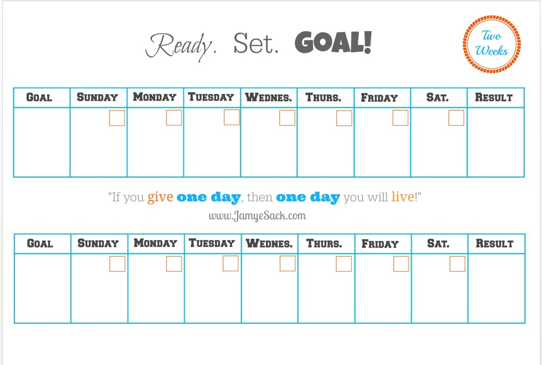 Free Printable] Two Week Goal Calendar – Jamye Sack