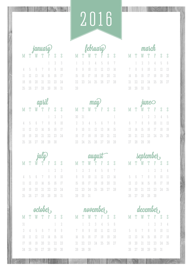 Free Printable Updated 2016 Calendars & Covers
