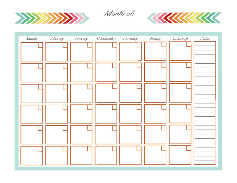 Full Page Monthly Calendar Printable