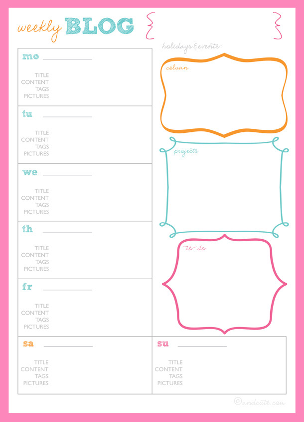 Get Organized  Blog Planner Printables