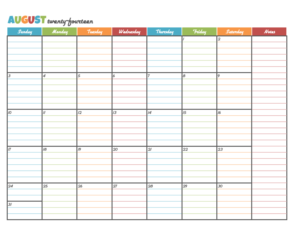 Printable Calendars With Lines » Calendar Template 2017
